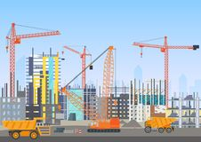 Site Web en construction d'architecture d'horizon de ville de bâtiment avec des grues à tour Procédé de construction de travail a Images stock