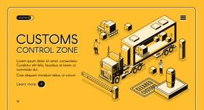 Site Web isométrique de vecteur de zone de contrôle de douane illustration libre de droits