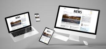 site Web newsresponsive de dispositifs de vol image stock
