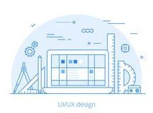 Site Web plat de design de l'interface de Lineart UI/UX Image libre de droits