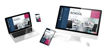 site Web sensible d'école en ligne de dispositifs de vol images libres de droits