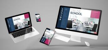 site Web sensible d'école en ligne de dispositifs de vol photographie stock