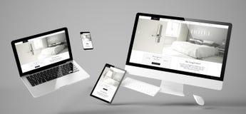 site Web sensible d'hôtel grand de dispositifs de vol images libres de droits