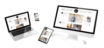site Web sensible de blog de mode de dispositifs de vol image stock
