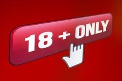 Site Web 18+ seulement, photo du moniteur computer2 d'écran Photos stock