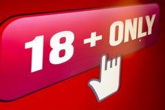 Site Web 18 seulement, photo du moniteur computer3 d'écran Image libre de droits