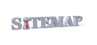 Sitemap. Play figure with tie and the word sitemap - 3d illustration stock illustration