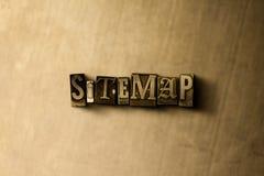 SITEMAP - close-up van grungy wijnoogst gezet woord op metaalachtergrond Royalty-vrije Stock Fotografie