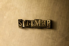 SITEMAP - close-up vintage sujo da palavra typeset no contexto do metal Fotografia de Stock Royalty Free