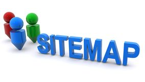 Sitemap illustration. An illustration of the word sitemap and location icons vector illustration