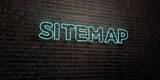 SITEMAP -Realistic Neon Sign on Brick Wall background - 3D rendered royalty free stock image. Can be used for online banner ads and direct mailers royalty free illustration
