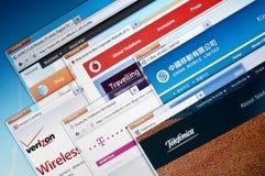 Sites Web d'entreprises de télécommunications Image stock