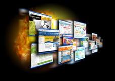 Sites Web de vitesse d'Internet sur le noir Photos stock