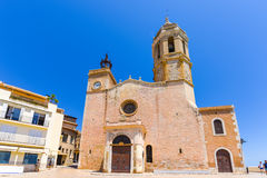 SITGES, CATALUNYA, SPAIN - JUNE 20, 2017: View of the church of of Sant Bartomeu and Santa Tecla. Copy space for text. Royalty Free Stock Photos