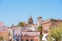 SITGES, CATALUNYA, SPAIN - JUNE 20, 2017: View of the historical center and the church of Sant Bartomeu and Santa Tecla. Royalty Free Stock Photos