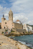 Sitges, church and palace Royalty Free Stock Photo