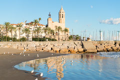 Sitges - Church of St. Bartholomew and Santa Tecla Stock Photos