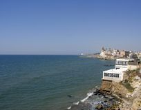 Sitges coastal view. Coastal view of the catalonian town of sitges, near barcelona royalty free stock photos