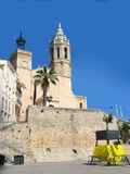 Sitges, Spain. Church near the beach in Sitges, Spain (near Barcelona Stock Photos