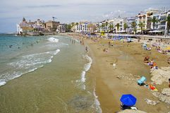 Platja Sant Sebastia beach at Mediterranean Sea in Sitges Royalty Free Stock Images