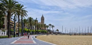 Sitges-Stadt, Katalonien, Spanien Stockfotografie