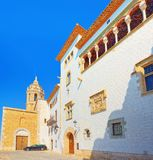 Sitges Town Hall and Church Parish of Saint Bartholomew and San. Ta Tecla in small resort town Sitges, in the suburbs of Barcelona stock images
