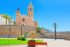 Sitges Town Hall and Church Parish of Saint Bartholomew and San. Ta Tecla in small resort town Sitges, in the suburbs of Barcelona stock photos