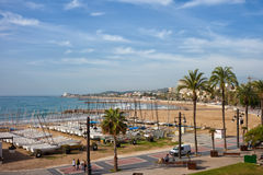 Sitges Town at Mediterranean Sea Stock Photo