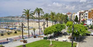 Sitges town in Spain, Platja Sant Sebastia beach at Mediterranean Sea Stock Photos