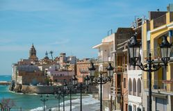 Sitges view. Beautiful town of Sitges, Spain Royalty Free Stock Photos
