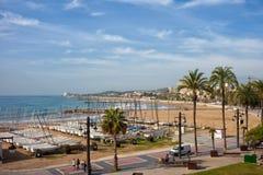 Sitgesstad bij Middellandse Zee Stock Foto