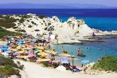 Sithonia - praia alaranjada Fotografia de Stock