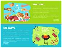 Siti Web del partito del BBQ con l'illustrazione di vettore del testo Fotografia Stock