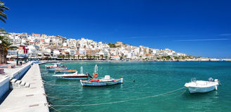Sitia Seafront with boats Royalty Free Stock Photos