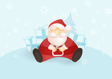 Siting Santa with presents and Christmas tree. Stock Photography