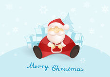 Siting Santa with presents and Christmas tree. Royalty Free Stock Images