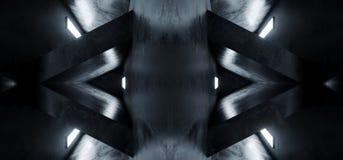 Sitio abstracto reflexivo concreto Hall White Glow Spaceship Background 3D del pasillo Alienship del Grunge vacío oscuro futurist stock de ilustración