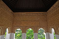 Sitio adornado en el Generalife Fotos de archivo libres de regalías
