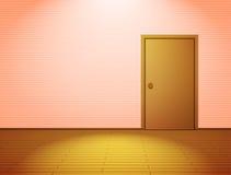 Sitio aligerado rosa con la puerta Foto de archivo