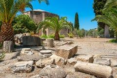 Sitio antiguo de Gortyna Crete, Grecia fotos de archivo