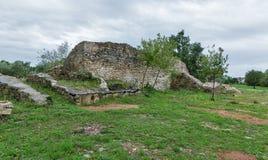 Sitio antiguo de las excavaciones cerca de la estación Blek, Istria, Croacia Imagen de archivo
