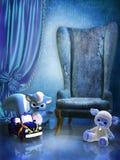 Sitio azul con los juguetes Foto de archivo libre de regalías