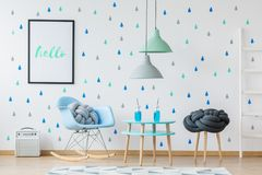 Sitio azul del ` s del niño del diseñador Imagen de archivo libre de regalías