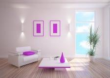 Sitio blanco con muebles Foto de archivo