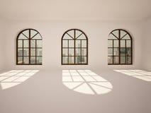 Sitio blanco grande, vacío, brillante con las ventanas del arco Fotos de archivo libres de regalías