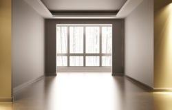 Sitio blanco vacío con la decoración interior En el cuarto hay luz artificial fuera de la madera del invierno de la ventana Fotos de archivo libres de regalías