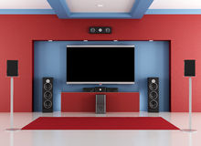 Sitio casero rojo y azul del cine Foto de archivo libre de regalías