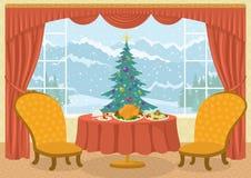 Sitio con el árbol de navidad en ventana Foto de archivo