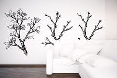 Sitio con el sofá blanco y los árboles exhaustos stock de ilustración