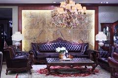 Sitio con el sofá en estilo clásico Fotografía de archivo libre de regalías
